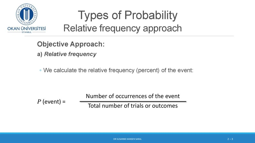 Types of Probability Relative frequency approach