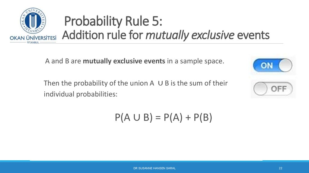 Probability Rule 5: Addition rule for mutually exclusive events