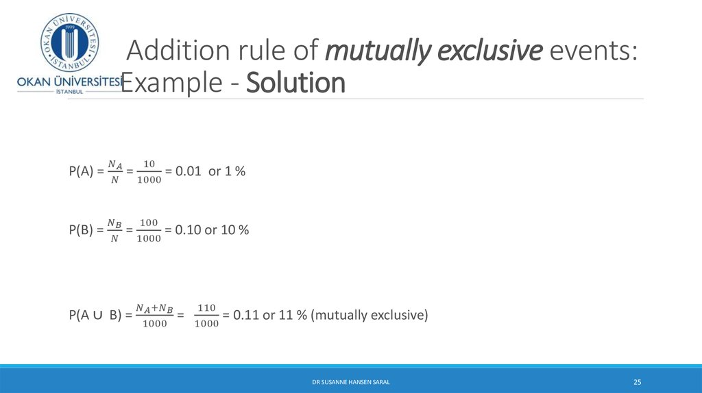 Addition rule of mutually exclusive events: Example - Solution