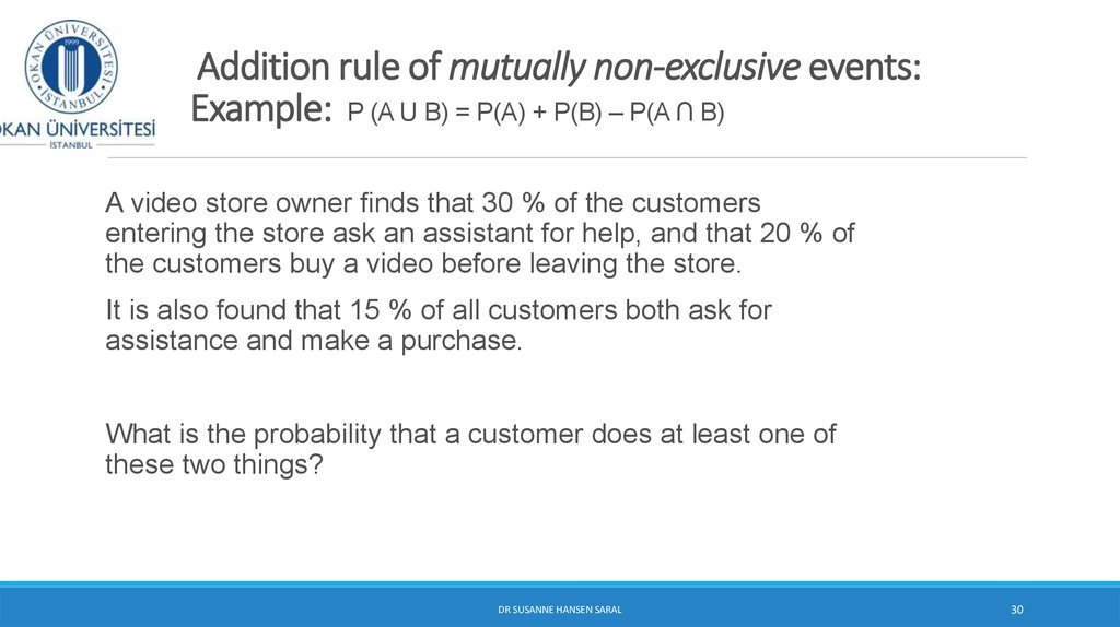 Addition rule of mutually non-exclusive events: Example: P (A U B) = P(A) + P(B) – P(A ∩ B)