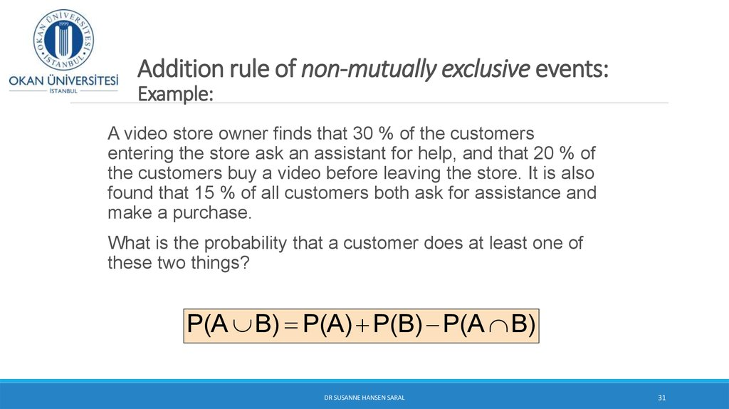 Addition rule of non-mutually exclusive events: Example: