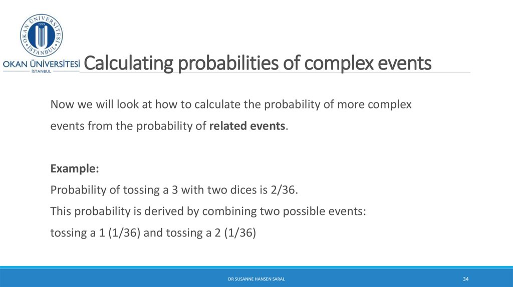 Calculating probabilities of complex events