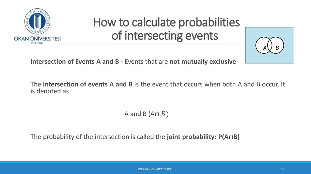 How to calculate probabilities of intersecting events