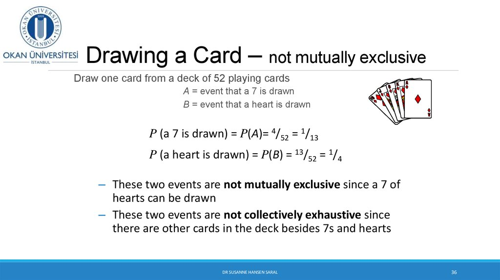 Drawing a Card – not mutually exclusive