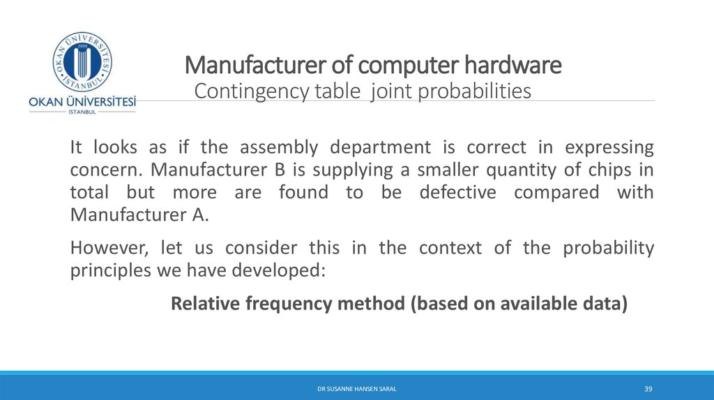 Manufacturer of computer hardware Contingency table joint probabilities