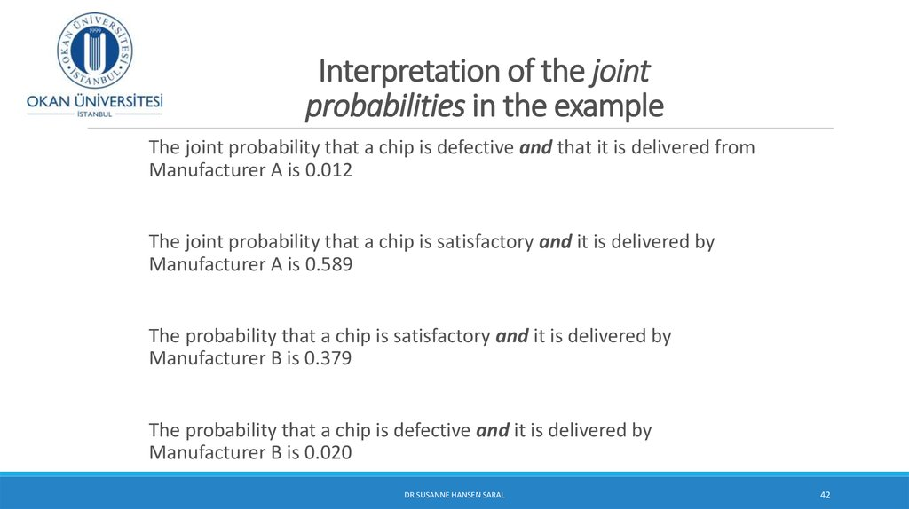 Interpretation of the joint probabilities in the example