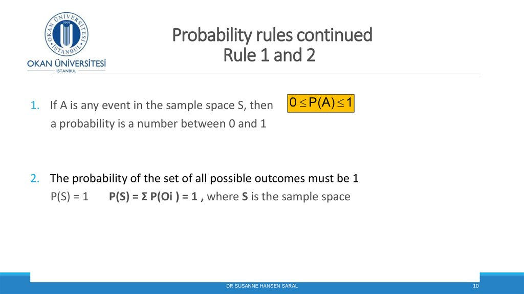 Probability rules continued Rule 1 and 2