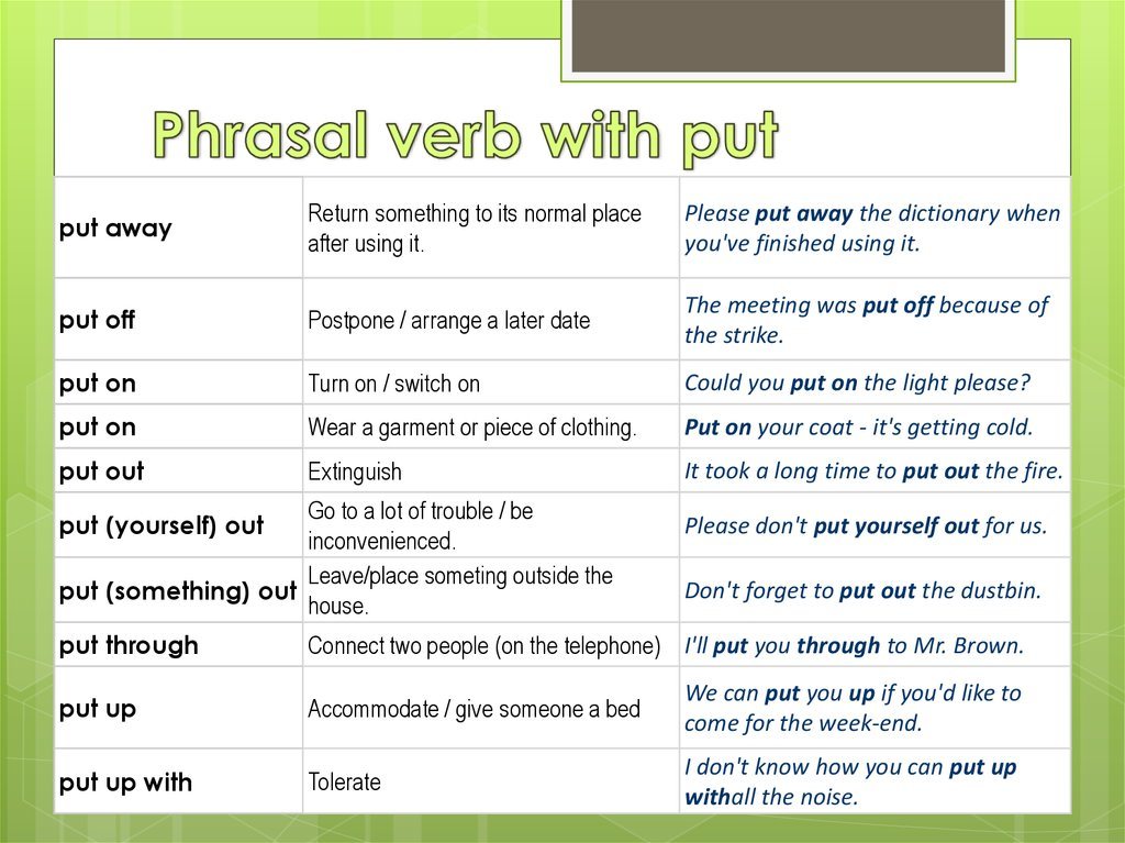 Phrasal verb with put
