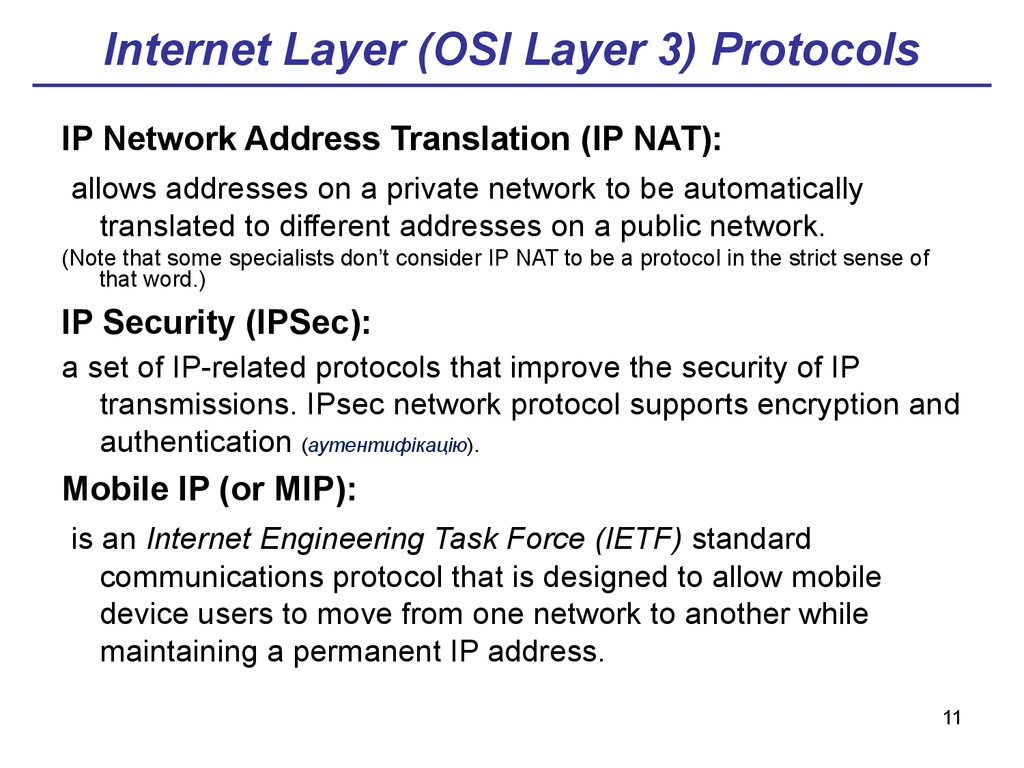 Internet Layer (OSI Layer 3) Protocols
