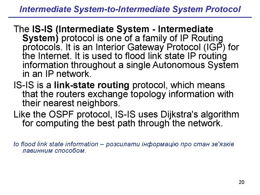 Intermediate System-to-Intermediate System Protocol
