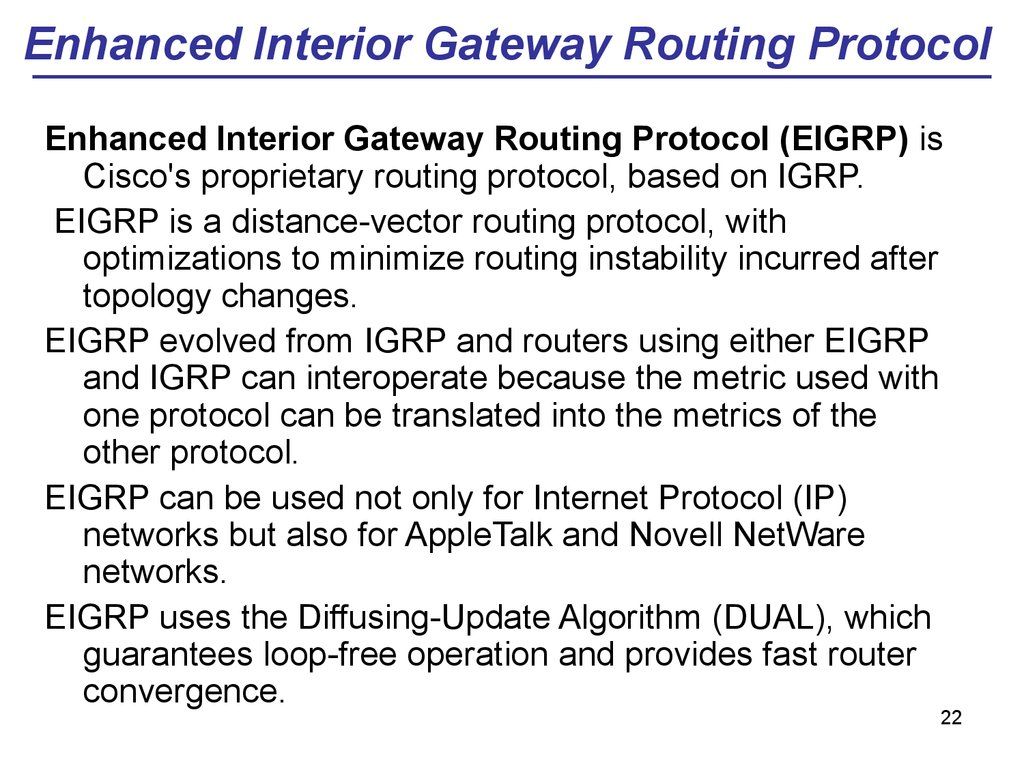 Enhanced Interior Gateway Routing Protocol
