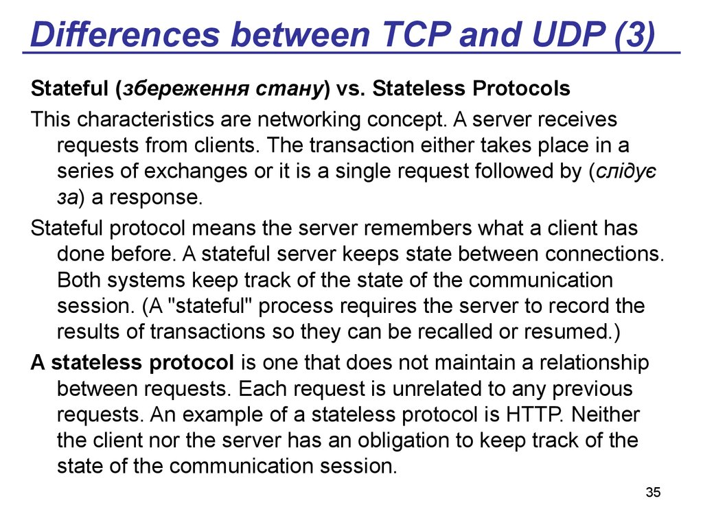 Differences between TCP and UDP (3)