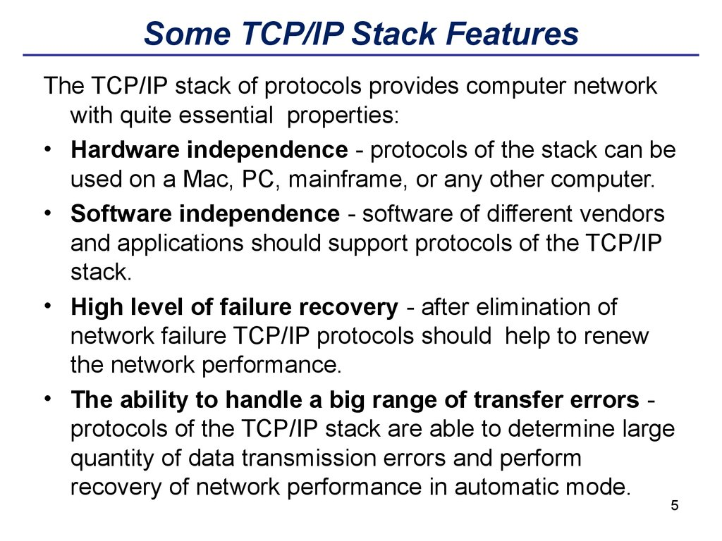 Some TCP/IP Stack Features