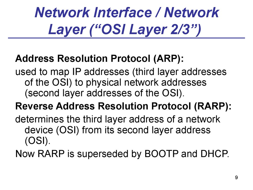 "Network Interface / Network Layer (""OSI Layer 2/3"")"