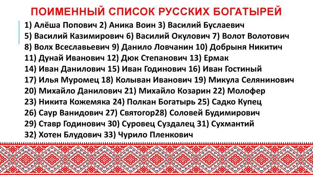 Богатыри россии имена