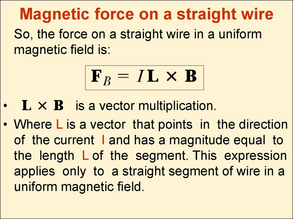 Magnetic force on a straight wire