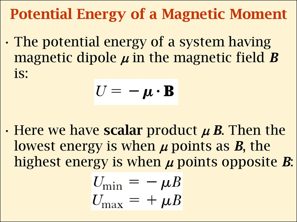 Potential Energy of a Magnetic Moment
