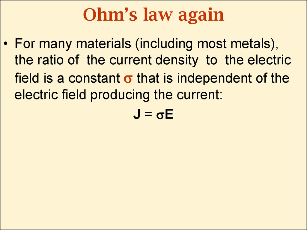 Ohm's law again