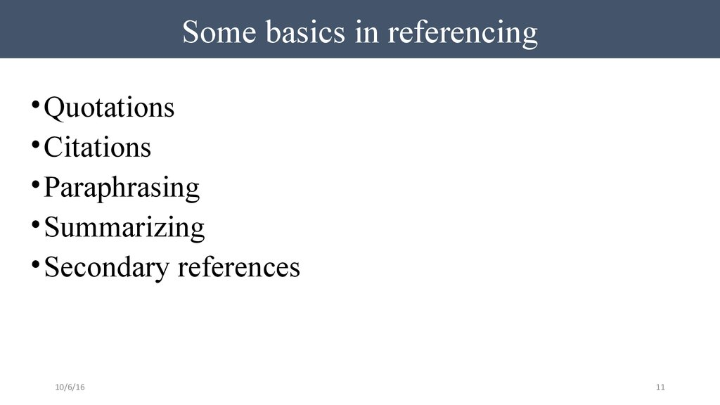 Some basics in referencing