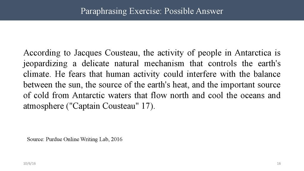 Paraphrasing Exercise: Possible Answer