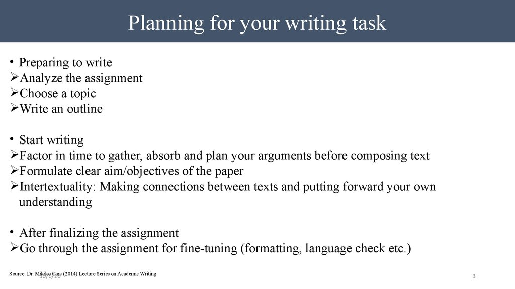 Planning for your writing task