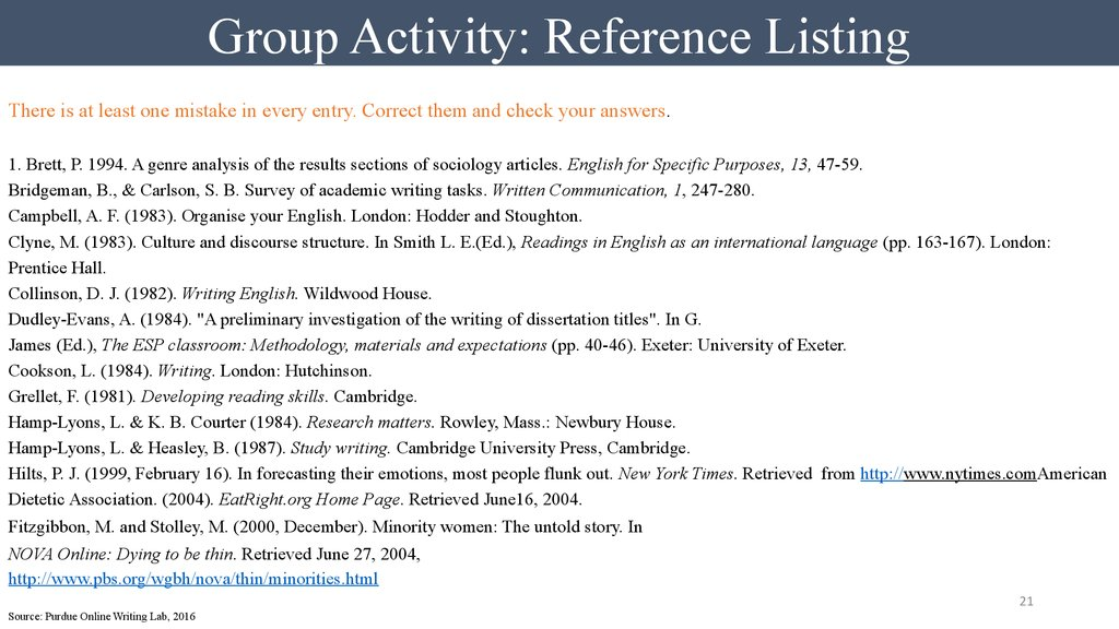 Group Activity: Reference Listing