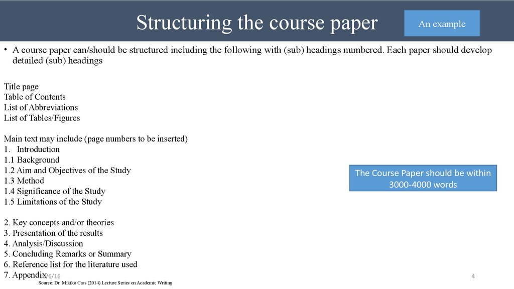 Structuring the course paper