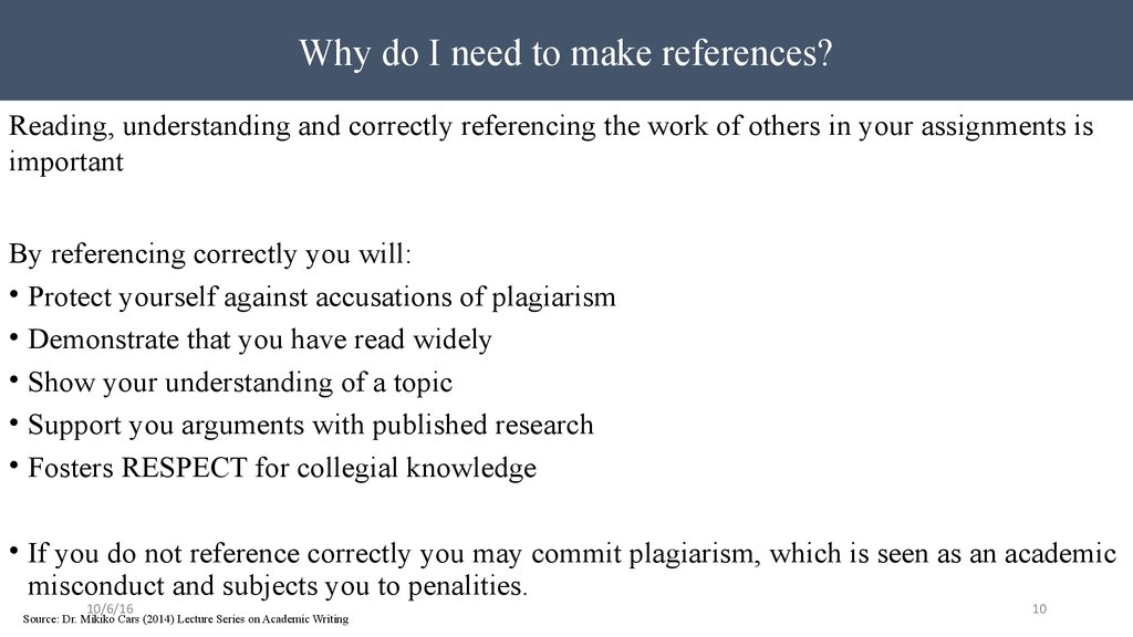 Why do I need to make references?