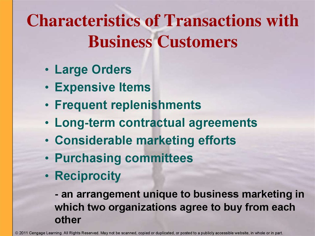 Characteristics of Transactions with Business Customers
