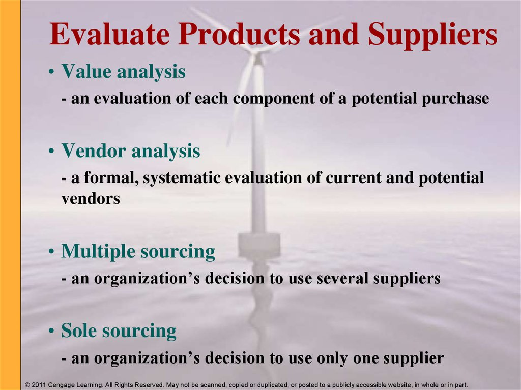 Evaluate Products and Suppliers