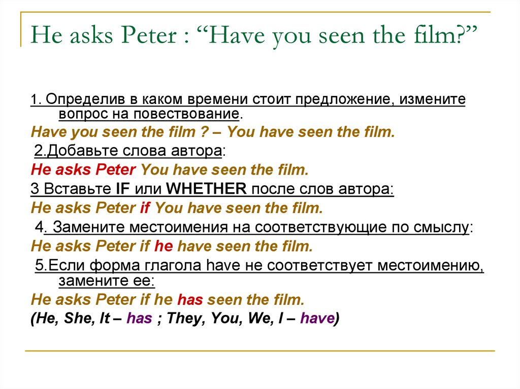 "He asks Peter : ""Have you seen the film?"""