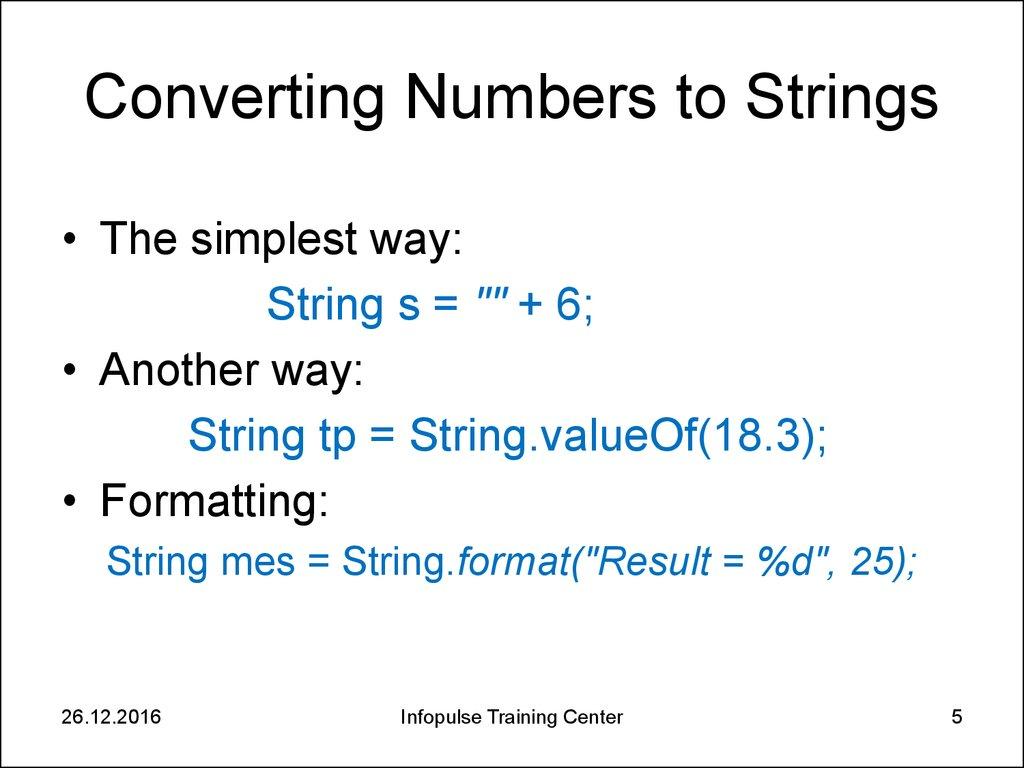 3 essential java classes 1 strings online presentation converting numbers to strings baditri Choice Image