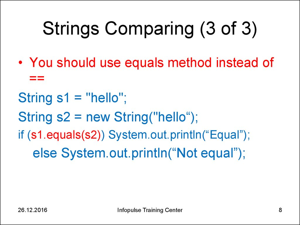 string compare java