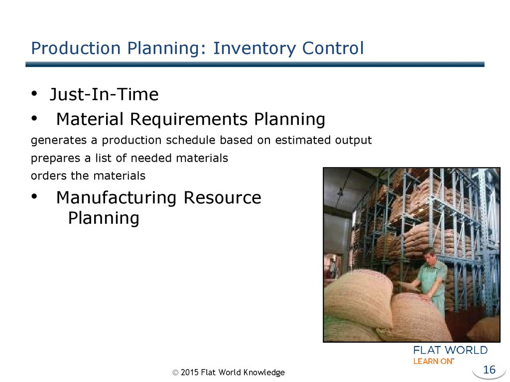 Production Planning: Inventory Control