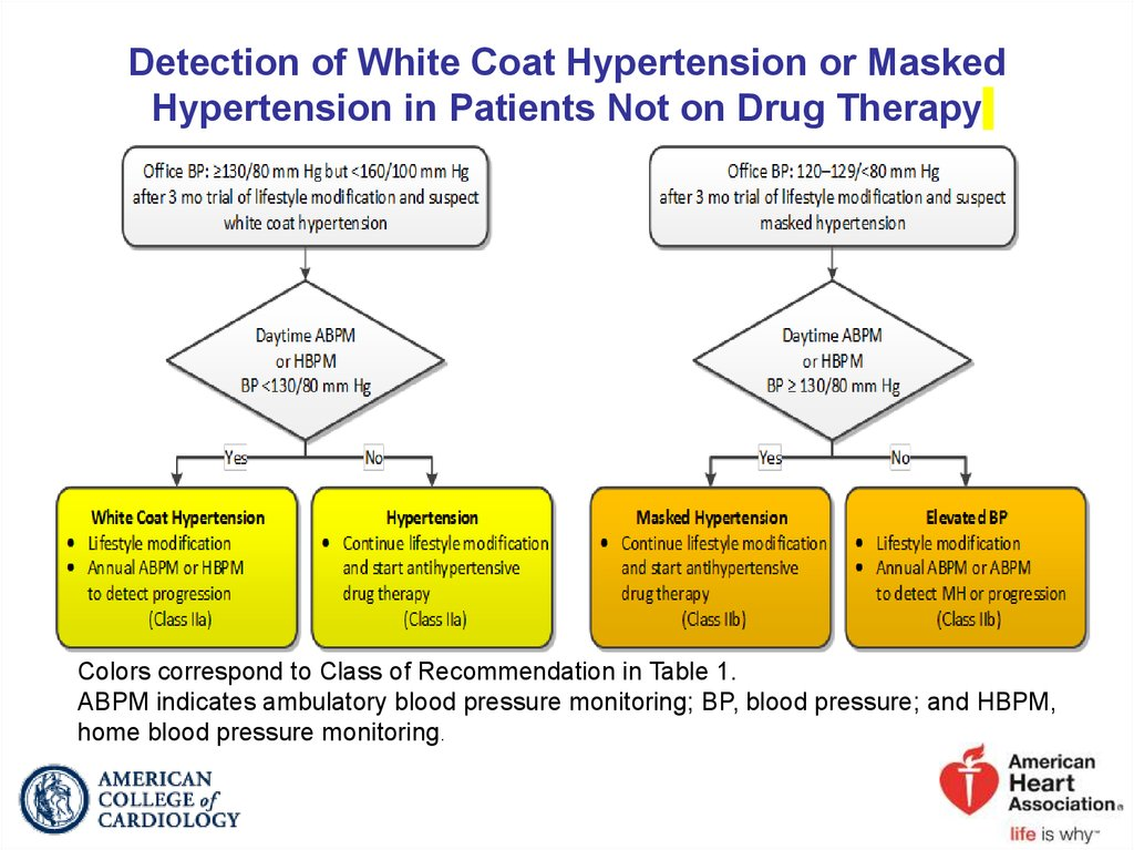 Detection of White Coat Hypertension or Masked Hypertension in Patients Not on Drug Therapy