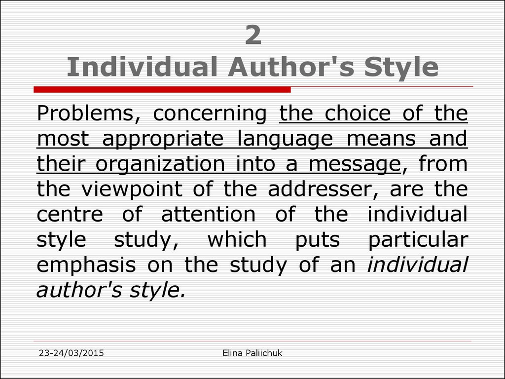2 Individual Author's Style