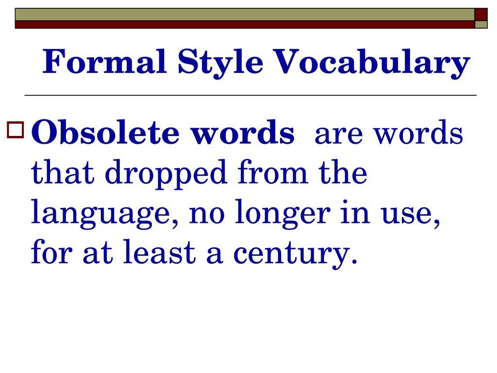Formal Style Vocabulary