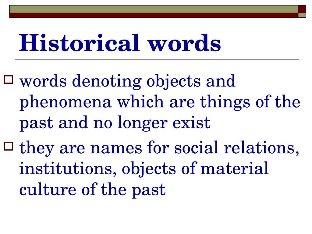 Historical words