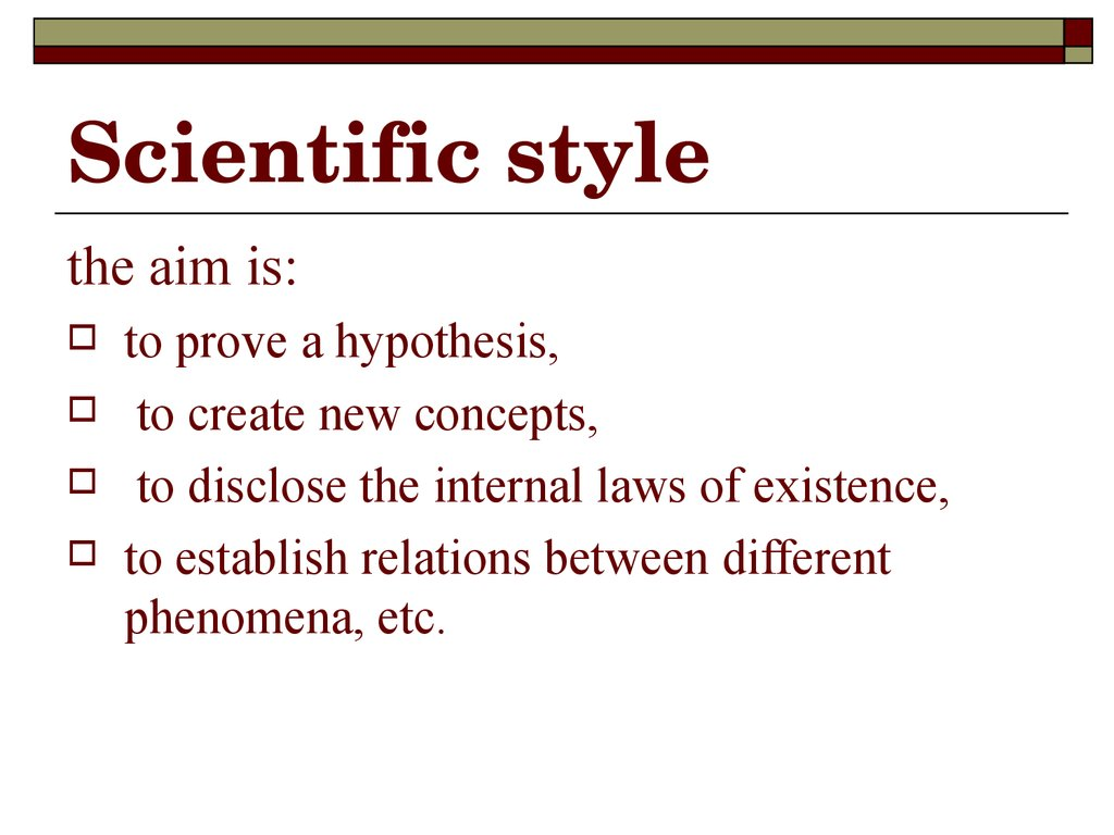 Scientific style