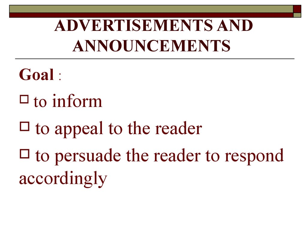 ADVERTISEMENTS AND ANNOUNCEMENTS