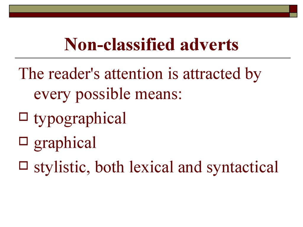 Non-classified adverts