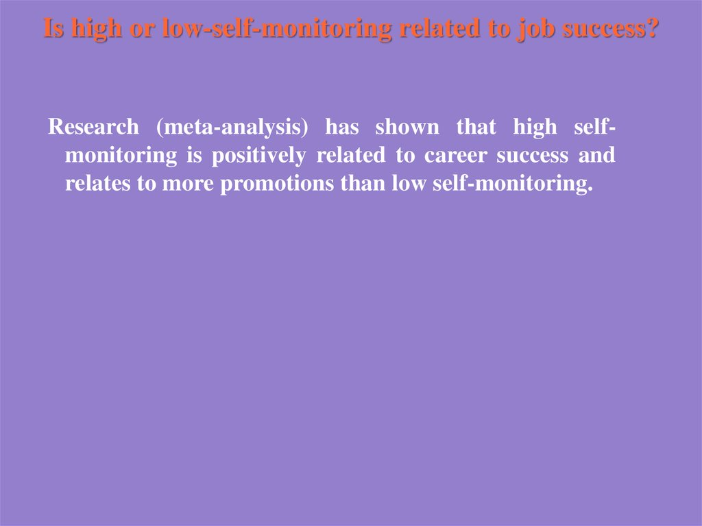 Is high or low-self-monitoring related to job success?