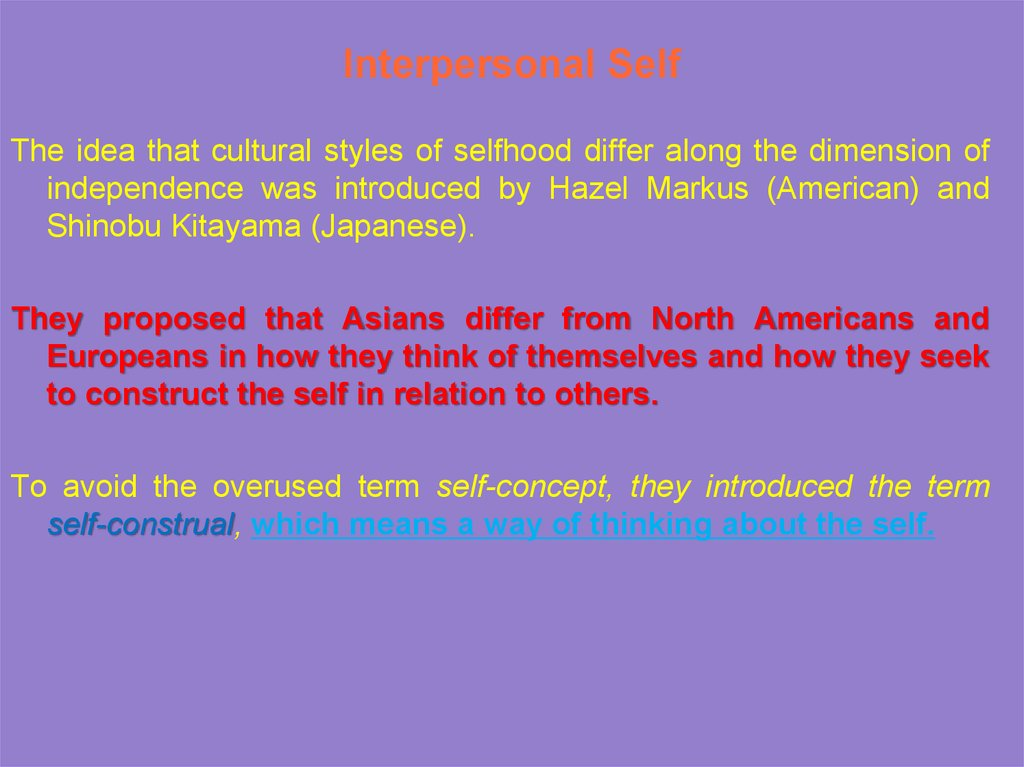 Interpersonal Self