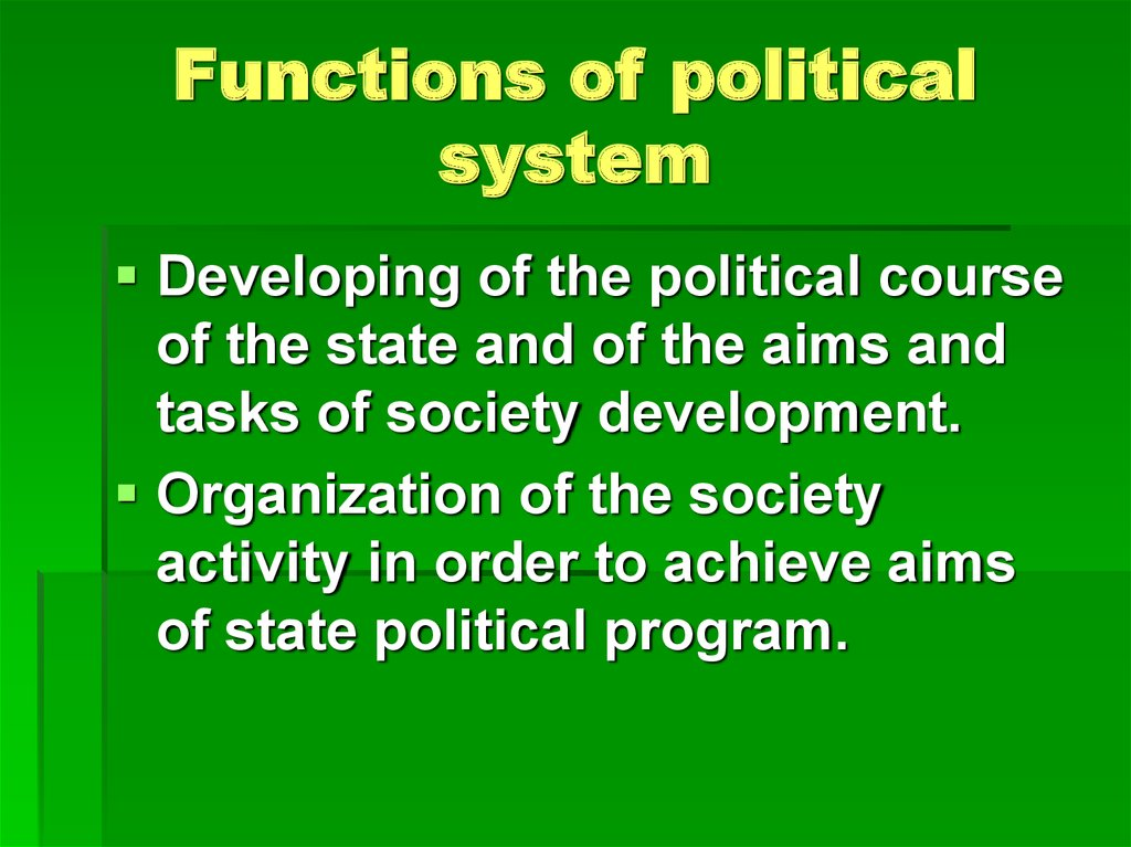 Functions of political system