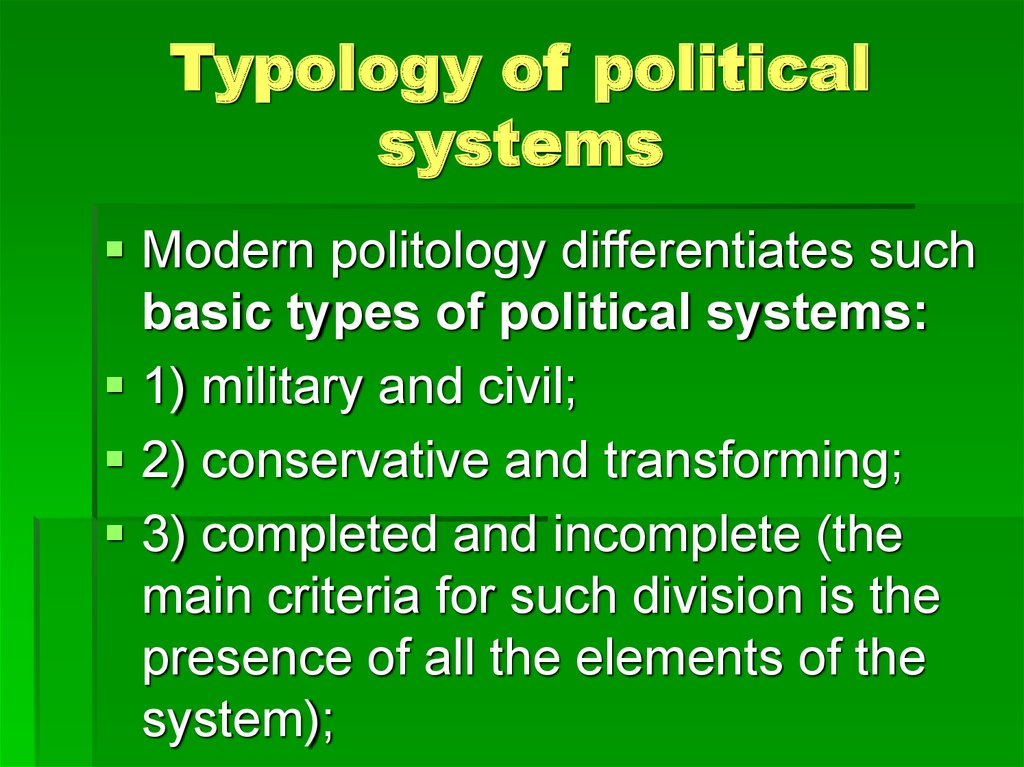Typology of political systems