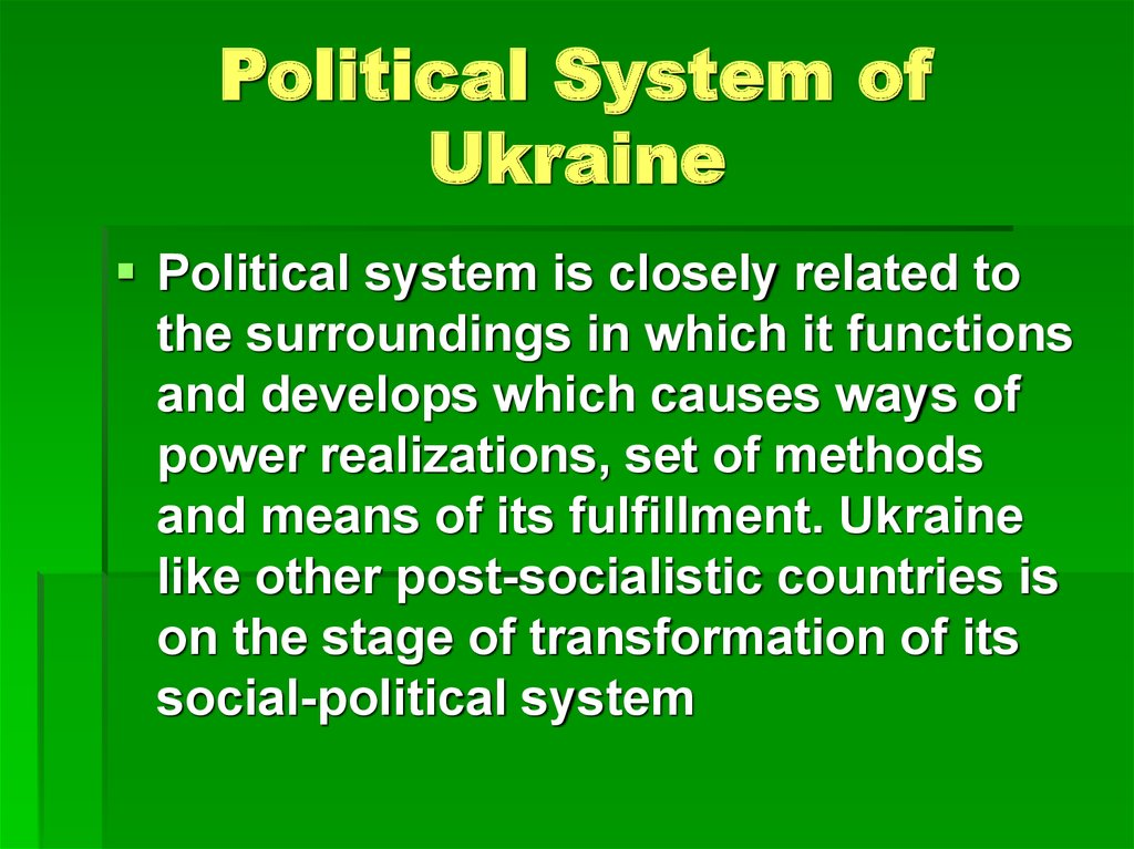 Political System of Ukraine