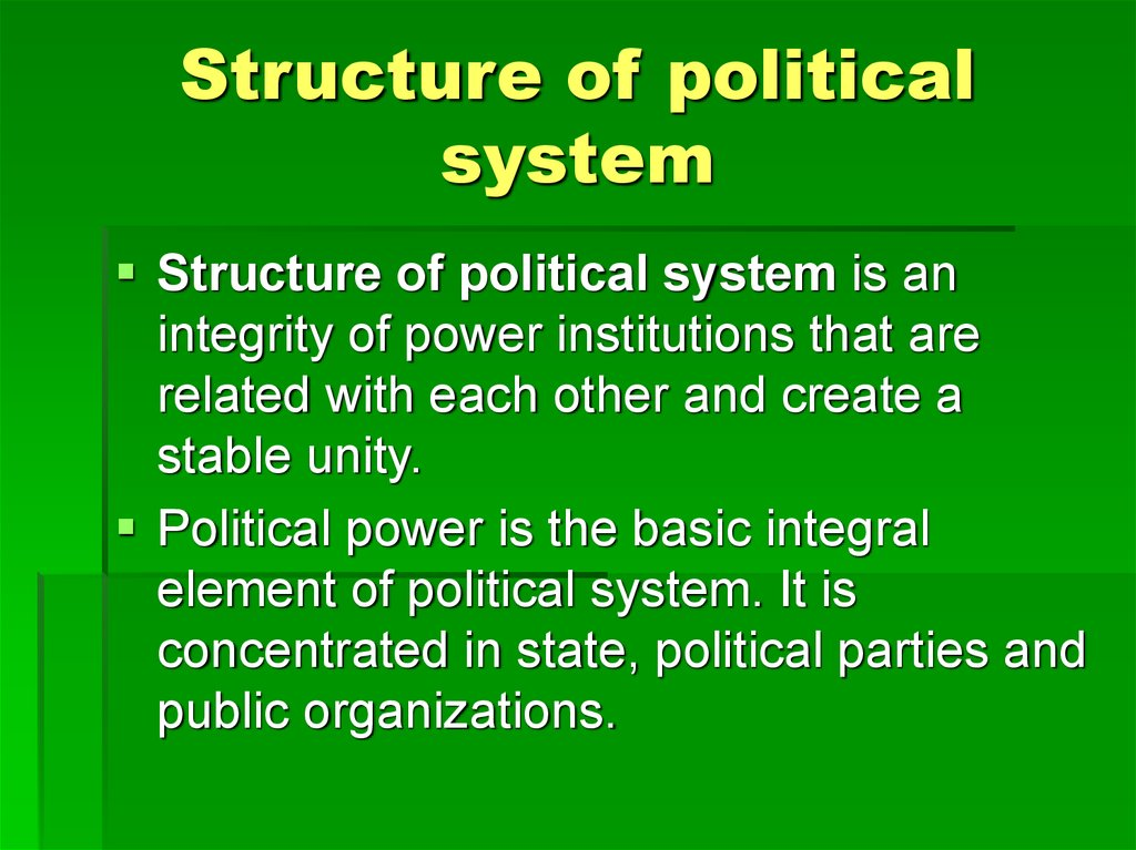 Structure of political system
