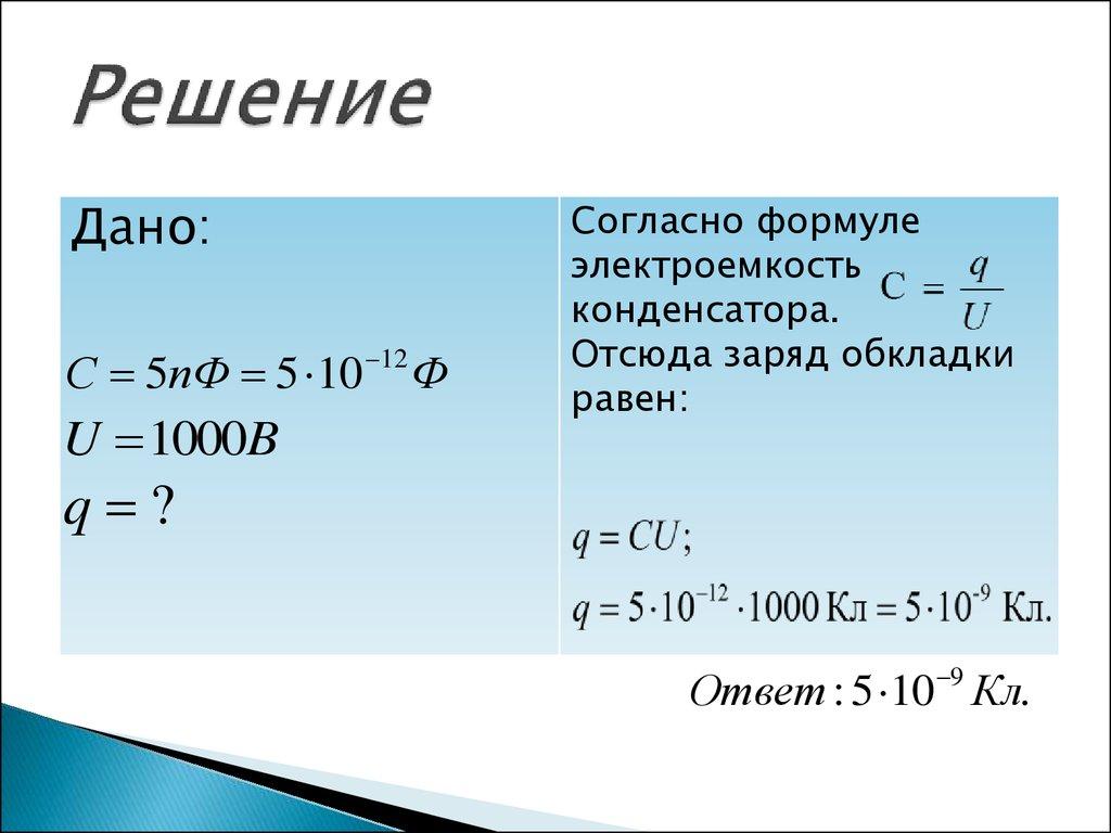 Задачи на электроемкость конденсатора с решением задачи на максимизацию прибыли с решением