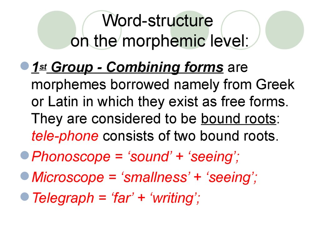 Word-structure on the morphemic level: