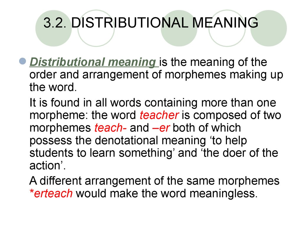3.2. DISTRIBUTIONAL MEANING